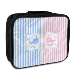Striped w/ Whales Insulated Lunch Bag (Personalized)