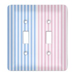 Striped w/ Whales Light Switch Cover (2 Toggle Plate) (Personalized)