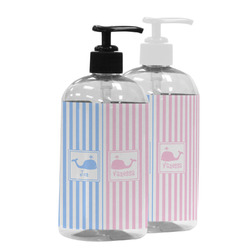 Striped w/ Whales Plastic Soap / Lotion Dispenser (Personalized)