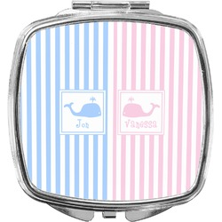 Striped w/ Whales Compact Makeup Mirror (Personalized)