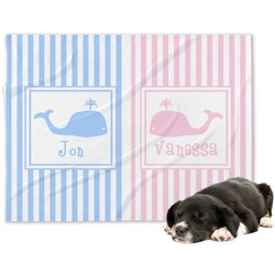 Striped w/ Whales Minky Dog Blanket - Large  (Personalized)