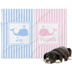 Striped w/ Whales Dog Blanket (Personalized)