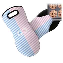 Striped w/ Whales Neoprene Oven Mitt (Personalized)
