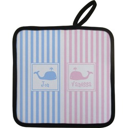 Striped w/ Whales Pot Holder (Personalized)
