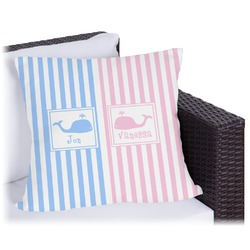 Striped w/ Whales Outdoor Pillow (Personalized)