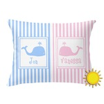 Striped w/ Whales Outdoor Throw Pillow (Rectangular) (Personalized)