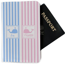Striped w/ Whales Passport Holder - Fabric (Personalized)