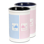 Striped w/ Whales Ceramic Pencil Holder - Large