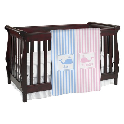 Striped w/ Whales Baby Blanket (Personalized)