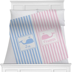 """Striped w/ Whales Fleece Blanket - Queen / King - 90""""x90"""" - Double Sided (Personalized)"""