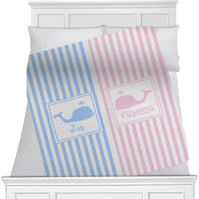 Striped w/ Whales Minky Blanket (Personalized)