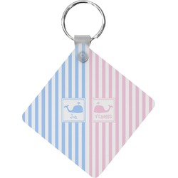 Striped w/ Whales Diamond Key Chain (Personalized)
