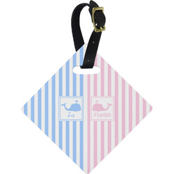 Striped w/ Whales Diamond Luggage Tag (Personalized)