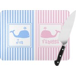 Striped w/ Whales Rectangular Glass Cutting Board (Personalized)