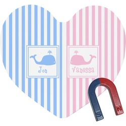 Striped w/ Whales Heart Fridge Magnet (Personalized)