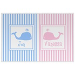 Striped w/ Whales Laminated Placemat w/ Multiple Names
