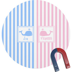 Striped w/ Whales Round Magnet (Personalized)