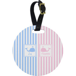 Striped w/ Whales Round Luggage Tag (Personalized)