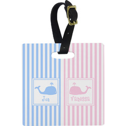 Striped w/ Whales Luggage Tags (Personalized)