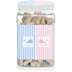 Striped w/ Whales Pet Treat Jar (Personalized)