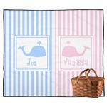 Striped w/ Whales Outdoor Picnic Blanket (Personalized)