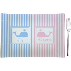 Striped w/ Whales Rectangular Appetizer / Dessert Plate (Personalized)