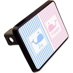 """Striped w/ Whales Rectangular Trailer Hitch Cover - 2"""" (Personalized)"""