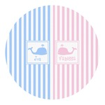 Striped w/ Whales Round Decal - Custom Size (Personalized)