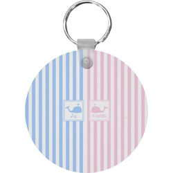 Striped w/ Whales Round Keychain (Personalized)