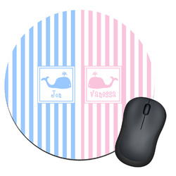 Striped w/ Whales Round Mouse Pad (Personalized)