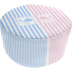 Striped w/ Whales Round Pouf Ottoman (Personalized)