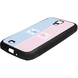 Striped w/ Whales Rubber Samsung Galaxy 4 Phone Case (Personalized)