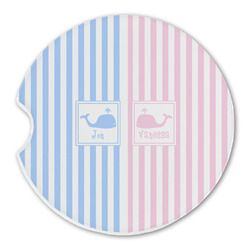 Striped w/ Whales Sandstone Car Coasters (Personalized)