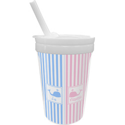 Striped w/ Whales Sippy Cup with Straw (Personalized)