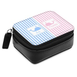 Striped w/ Whales Small Leatherette Travel Pill Case (Personalized)