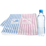 Striped w/ Whales Sports & Fitness Towel (Personalized)