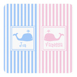 Striped w/ Whales Square Decal - Custom Size (Personalized)