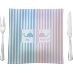 Striped w/ Whales Square Dinner Plate (Personalized)