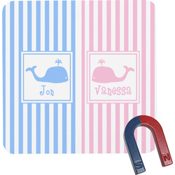 Striped w/ Whales Square Fridge Magnet (Personalized)