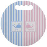 Striped w/ Whales Stadium Cushion (Round) (Personalized)