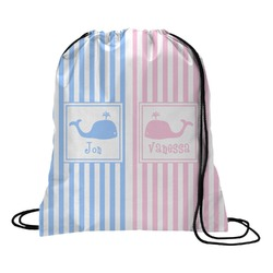 Striped w/ Whales Drawstring Backpack (Personalized)