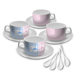 Striped w/ Whales Tea Cup - Set of 4 (Personalized)