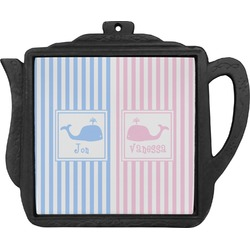 Striped w/ Whales Teapot Trivet (Personalized)