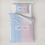 Striped w/ Whales Toddler Bedding w/ Multiple Names
