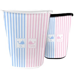 Striped w/ Whales Waste Basket (Personalized)