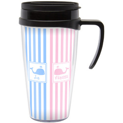 Striped w/ Whales Travel Mug with Handle (Personalized)
