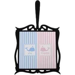 Striped w/ Whales Trivet with Handle (Personalized)