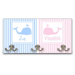 Striped w/ Whales Wall Mounted Coat Rack (Personalized)