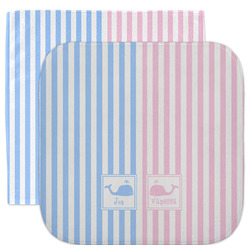 Striped w/ Whales Facecloth / Wash Cloth (Personalized)