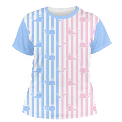 Striped w/ Whales Women's Crew T-Shirt (Personalized)
